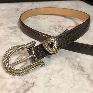 Brighton ladies brown leather croc patterned belt